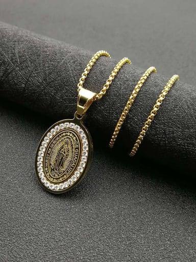 Gold+Chain 2mm*61cm Titanium Steel Religious Vintage Necklace