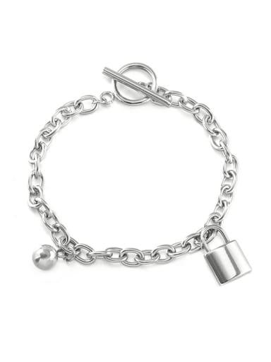 Metal ball lock Bracelet Titanium Steel Locket Hip Hop Necklace