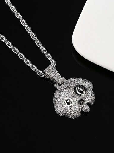 Brass Cubic Zirconia Dog Hip Hop Necklace