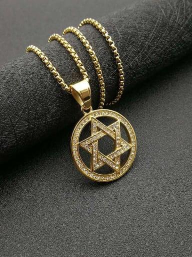 Gold+Chain:3mm*61cm Titanium Steel Rhinestone Hollow Star Vintage Necklace