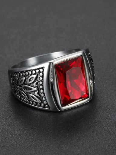 gules Stainless steel Glass Stone  Irregular Vintage Solitaire Ring