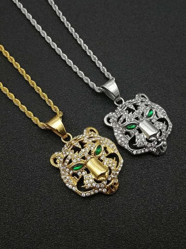 Titanium Rhinestone Vintage Tiger Pendant necklace