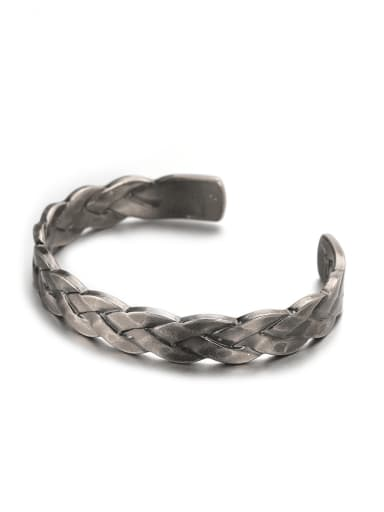 Titanium Steel Round Vintage Cuff Bangle