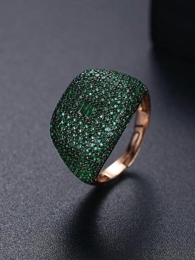 T21F05 Green Brass Cubic Zirconia Geometric Hip Hop Band Ring