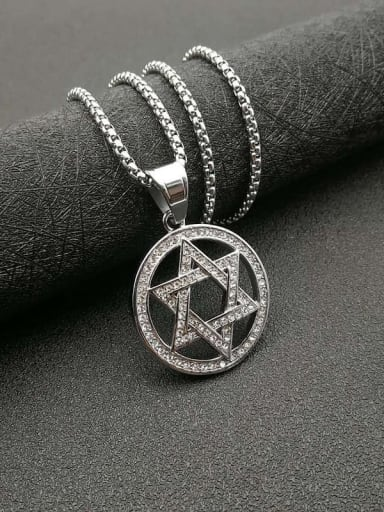 Titanium Steel Rhinestone Hollow Star Vintage Necklace