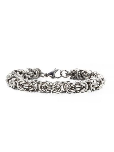 Steel color (8mm*21cm) Titanium Steel Geometric Hip Hop Woven Bracelet