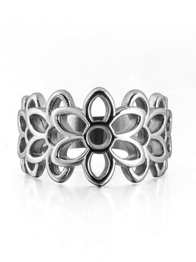 Steel color Titanium Steel Flower Vintage Band Ring