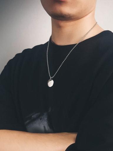 Titanium Steel Glossy Round Pendant Necklace