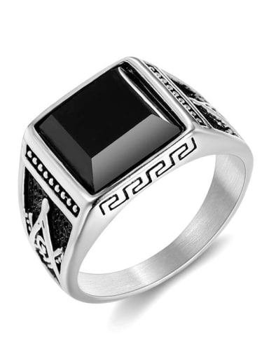 Silver US Titanium Square Vintage Band Ring