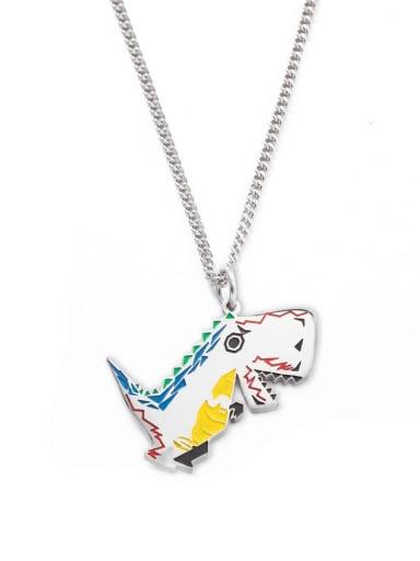 Steel color Titanium Steel Enamel Dragon Hip Hop Necklace