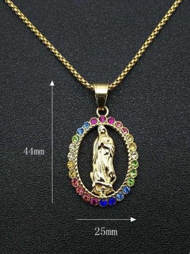 Gold +Chain 2mm*16cm Titanium Steel Rhinestone Religious Vintage Necklace
