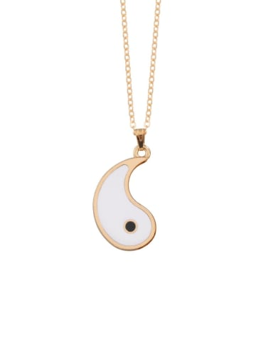 Gold left white Titanium Steel Round  Yin And Yang Gossip Necklace