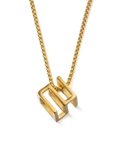 Gold (520) Titanium Steel Square Minimalist Long Strand Necklace