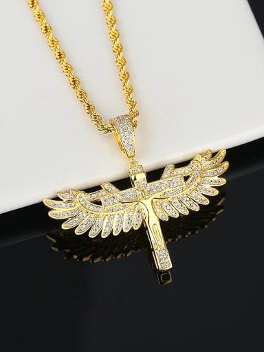 Brass Cubic Zirconia Owl Hip Hop Cuban Necklace