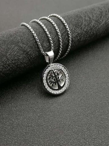 Titanium Steel Rhinestone Tree Vintage Necklace