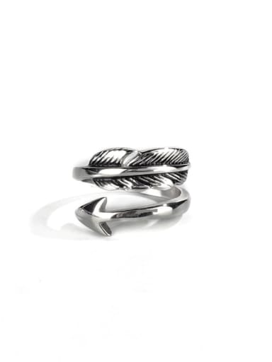 Steel color (size 6) Titanium Steel Feather Vintage Band Ring