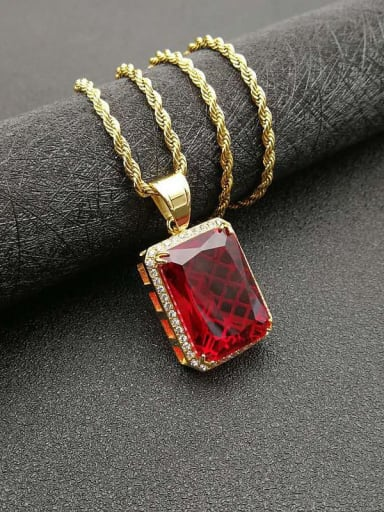Gold red stone  necklace Titanium Vintage Geometric  Glass stone  Necklace