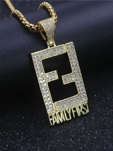 Gold with chain Copper Cubic Zirconia Rectangle Hip Hop Initials Pendant Necklace