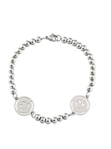 Steel color (bead chain) Titanium Steel Smiley Minimalist Beaded Bracelet