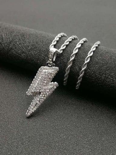 Titanium Steel Cubic Zirconia Irregular  Vintage Necklace