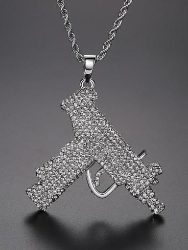 Copper Gun Cubic Zirconia Irregular Hip Hop Necklace