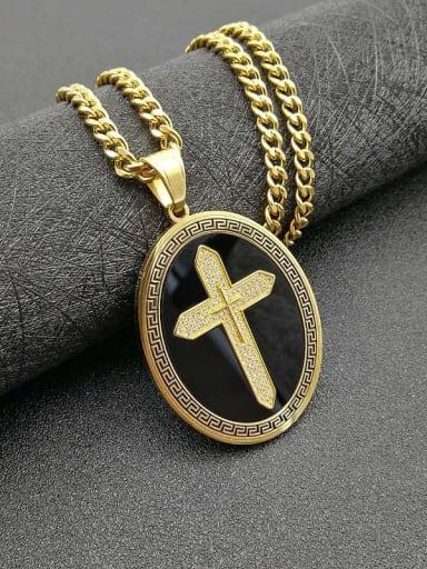 Titanium Rhinestone Religious Vintage Cross Pendant Necklace