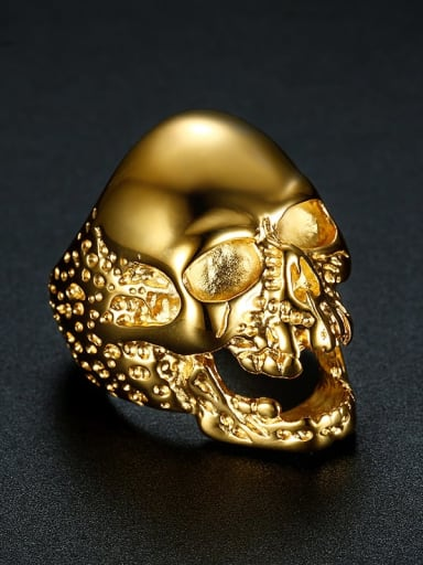 golden Stainless steel Skull Vintage Band Ring