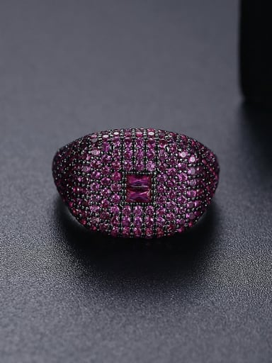 T21F04 Red Brass Cubic Zirconia Geometric Hip Hop Band Ring