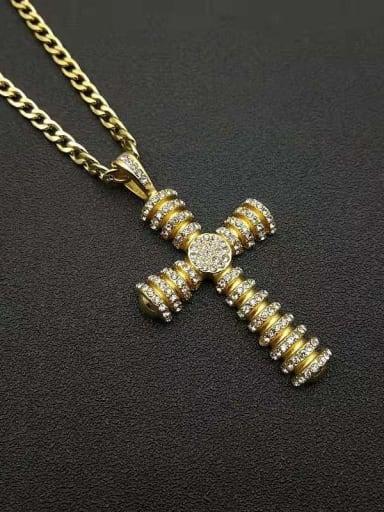 Titanium Steel Rhinestone Cross Vintage Regligious Necklace