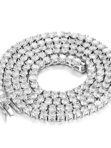Platinum  Chain:4mm* 61cm Brass Cubic Zirconia Cross Vintage Regligious Necklace