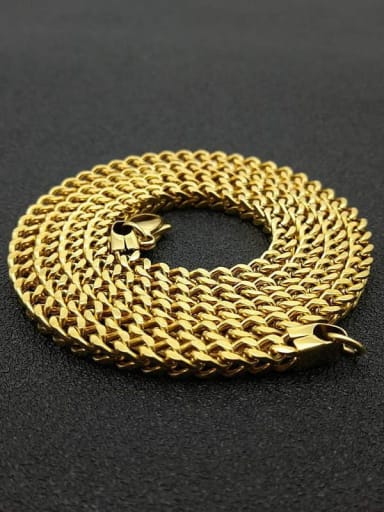 Gold:4mm*70cm Titanium Steel Hollow Geometric Chain Vintage Cable Chain