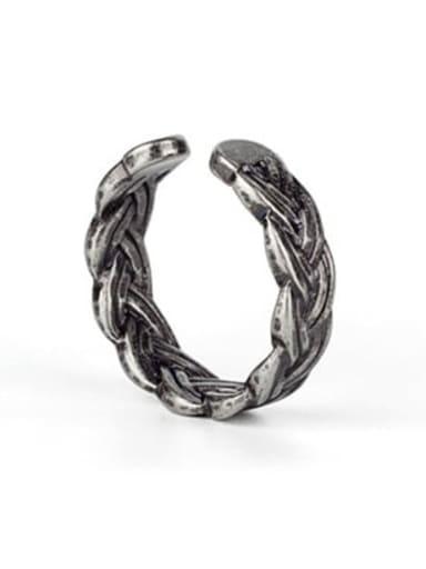 Antique (size 6) Titanium Steel Irregular Ethnic Band Ring