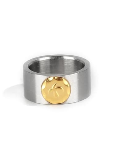 Steel color (size 7) Titanium Steel Geometric Ethnic Band Ring