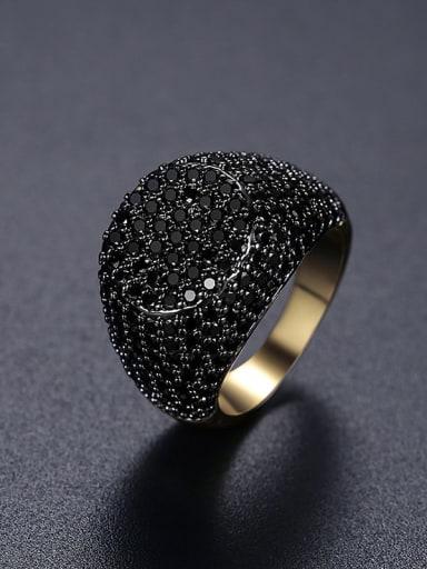 18K gold 17B05 Brass Cubic Zirconia Geometric Hip Hop Band Ring