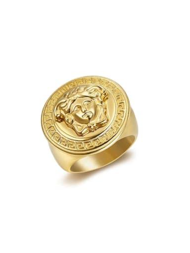 Titanium Round Vintage Band Ring
