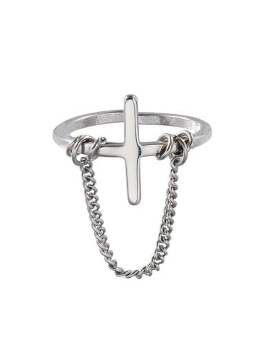 Titanium Steel Cross Minimalist Band Ring