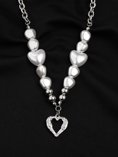 Titanium Steel Freshwater Pearl Heart Hip Hop Necklace
