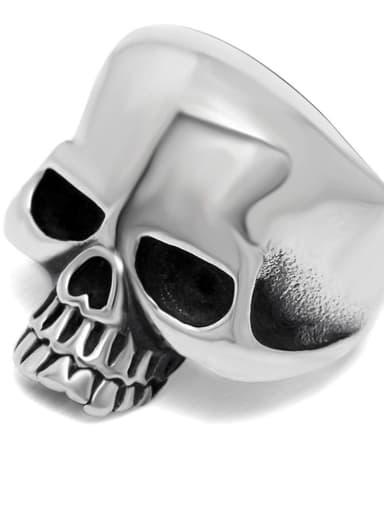 Steel color Titanium Skull Statement  Ring