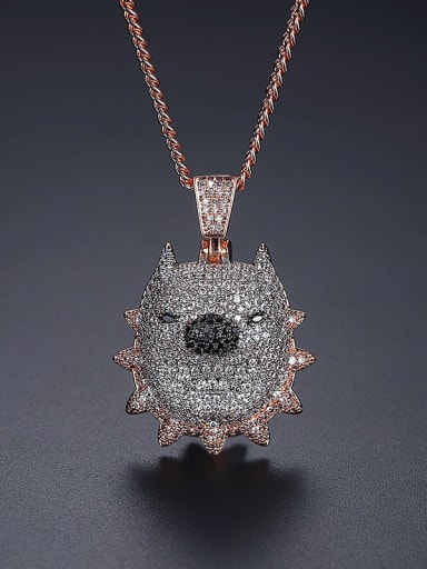 Rose gold 46G T20F02 Brass Cubic Zirconia Pig Hip Hop Necklace