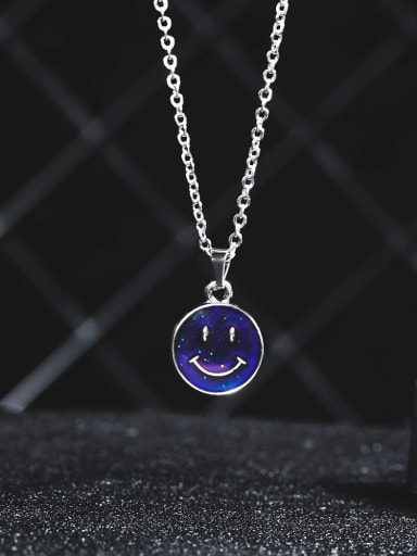 Titanium Steel Round Discoloration Cool Smiley Necklace