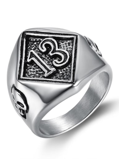 Stainless steel Letter Vintage Band Ring