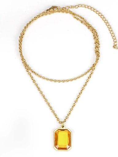 Gold gem (without chain) Titanium Steel Glass Stone Geometric Minimalist Long Strand Necklace