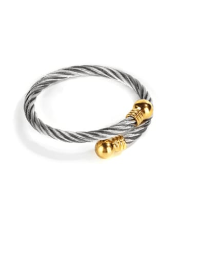 Steel colored gold hat Titanium Steel Round Hip Hop Band Bangle