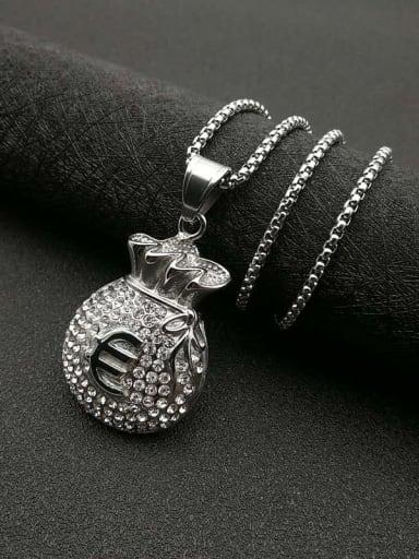 Titanium Steel Rhinestone Irregular Vintage Necklace