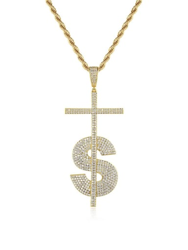 Brass Cubic Zirconia  Hip Hop Fashion Musical Letter Pendant  Necklace