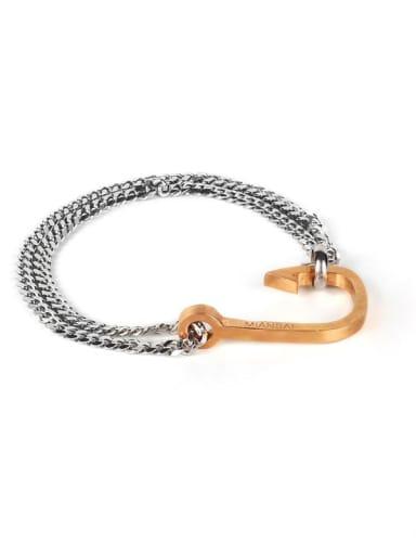 Rose goldfish hook steel color chain Titanium Steel Irregular Hip Hop Link Bracelet