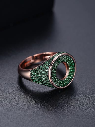Green t17a21 Brass Cubic Zirconia Round Hip Hop Band Ring