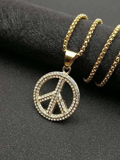 Gold necklace Titanium Rhinestone Round Hip Hop Initials  Pendant Necklace