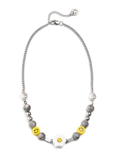 Steel color necklace (45+5cm) Titanium Steel  Geometric Hip Hop Sun Flower Smiley Necklace