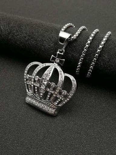 Titanium Steel Rhinestone Crown Vintage Necklace